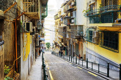 The street in the historic centre of Macau. Stock Images