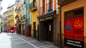 Street in historic part of Pamplona. Navarre, Spain Royalty Free Stock Photos