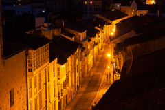 Street at historic part of Santiago de Compostela in night Stock Photography