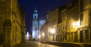 Street at historic part of Santiago de Compostela Stock Images