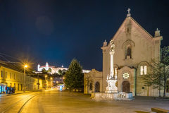 Street in historical center of Bratislava in Slovak republic. Architectural theme. Cultural heritage. Travel destination. Beautiful place. Seat of power Stock Images