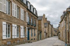 Street in Dinan, France. Street in historical center of Dinan, Brittany, France Stock Photos