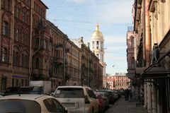 Street of the historical center of Saint Petersburg in the sunny day