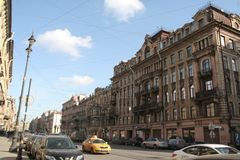 Street of the historical center of Saint Petersburg in the sunny day stock images