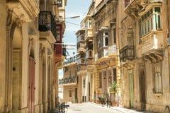 Street  in historical center of Valletta Stock Photo