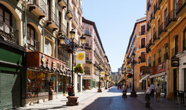 Street at historical part of Zaragoza.  Aragon Royalty Free Stock Images