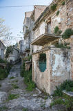 Street of history abandoned town in old Aliano Stock Images