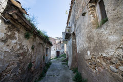 Street of history abandoned town in old Aliano Royalty Free Stock Photo