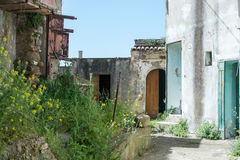 Street of history abandoned town in old Aliano Stock Photos