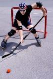 Street hockey #3. Street hockey player in action Royalty Free Stock Photography