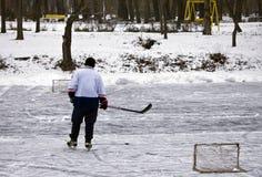 Street hockey on the winter park Stock Photos
