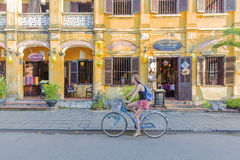 Street, Hoi An, Vietnam. Street in the morning, Hoi An old town, Vietnam. Hoi An is a famous tourist destination in the world and Vietnam. Photo taken on: 27 stock photo