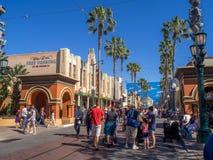 Street at Hollywood Studios in Disney California Adventure Park. ANAHEIM, CALIFORNIA - FEBRUARY 15: Tourists enjoying the  Hollywood Studios at Disney California Stock Images