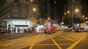 Street in Hong Kong at night. Street Scenery Downtown in Central Hong Kong at night stock video