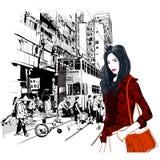 Street in Hong Kong vector illustration