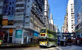 Street of Hongkong commercial center, 2016. A sight of Hongkong center area treet traffic, as buildings and bus, shown as city view and transportation, and Stock Image