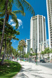 Street of Honolulu close to Waikiki beach on Oahu Island Hawaii Royalty Free Stock Image