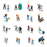 Street Hooligans Isometric Icons Royalty Free Stock Photo
