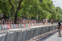 Street horse racing in Madrid Stock Images