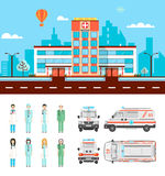 Street with hospital Royalty Free Stock Images
