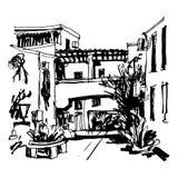 Street in hotel complex Slovenska Plaza in Budva Riviera Montenegro vector illustration