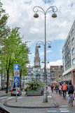 Street with the house in Amsterdam on a sunny day. Stock Image