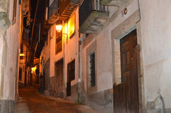 Street and house with batipuerta. Typical house with batipuerta,Candelario.Spain stock images