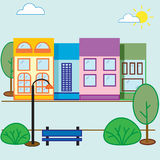 Street house vector illustration. Buildings, trees, bushes Stock Photos