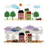 Street with houses Royalty Free Stock Images