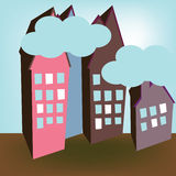 Street of houses. With clouds royalty free illustration
