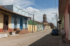 Street houses architecture in residential area in Trinidad, Cuba Stock Photo