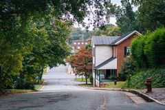 Street and houses in the Old Salem Historic District, in Winston stock photography