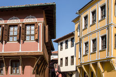 Street with houses in the traditional style of old Plovdiv Royalty Free Stock Photography