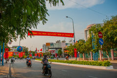 Street with huge traffic, lots of motorcycles. Nha Trang, Vietnam. royalty free stock photography