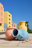 Street in Hurghada. Stylization in Arabic style. Vase stock photos