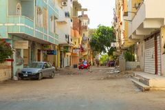 Street of Hurghada at sunset, Egypt Royalty Free Stock Photography