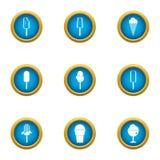 Street ice cream icons set, flat style. Street ice cream icons set. Flat set of 9 street ice cream vector icons for web isolated on white background Royalty Free Stock Photo