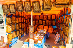 Street icon shop in the town of Leskovac in Serbia royalty free stock images