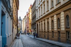Street In Historic Centre Of Prague With Picturesque Old Buildin Royalty Free Stock Image