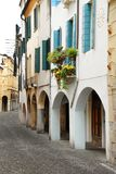 Street In Italy, Terrace With Flowerpots Stock Photography