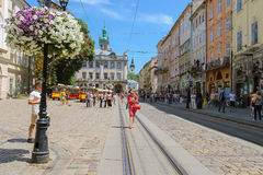 Free Street In The Old Town Of Lviv, Ukraine. View To Korniakt Tower Stock Photos - 69962883