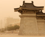 Street of Inchuan city Ningxia, China during sand storm Stock Image