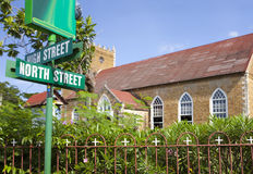 Street index near church. Jamaica. Royalty Free Stock Photo