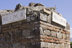 Street indication in the ancient city of Pompei Stock Photography