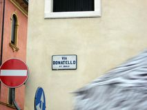 Street indicative sign in Padova Italy and traffic signs Europe. N Royalty Free Stock Photography