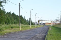 Street in the industrial outskirts of St. Petersburg. Russia Stock Photography