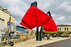 Street installation in the form of tulips in Jerusalem. JERUSALEM, ISRAEL - DECEMBER 29, 2016: Street installation in the form of tulips in front of the famous Stock Photos