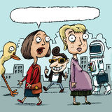 Street Insult. A cartoon, pregnant woman reacts as another woman insults her vector illustration