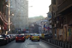 Street intersecting Magheru Boulevard in Bucharest Royalty Free Stock Image