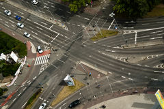 Street Intersection. From top down view with cars and stripes - Koln (Germany 2011 Royalty Free Stock Photo